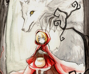 little red riding hood, red, and wolf image