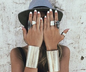 bracelets, fashion, and hat image