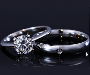 wedding, engagement ring, and silver rings image