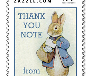 rabbit, thank you note, and beatrix potter image