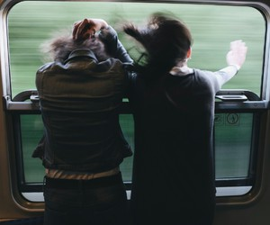 train, girls, and wind image
