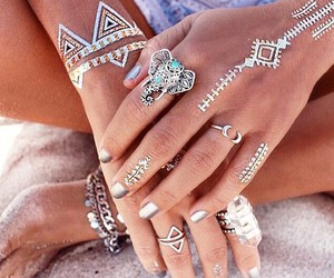 summer, tattoo, and rings image