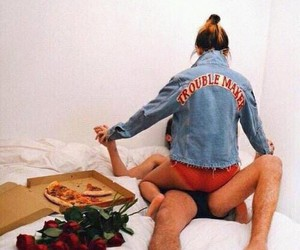 pizza, love, and flowers image