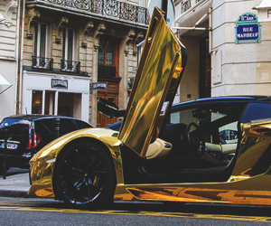car, automobile, and gold image