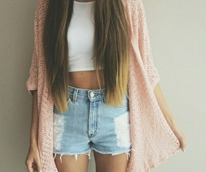 beauty, shorts, and crop top image