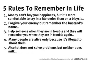 life, rules, and quote image