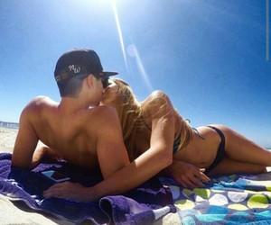 beach, kiss, and sand image