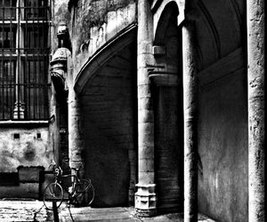 b&w, balcony, and bicycle image