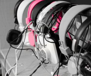 girl, pink, and head phones image