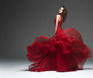 dress, red, and woman image