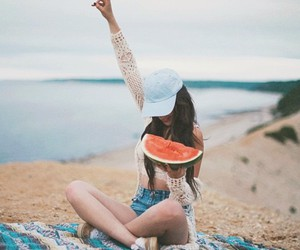 watermelon and beach image