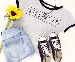 converse, outfit, and shirt image