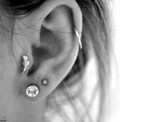 double, piercing, and silver image