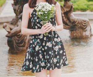 black, dress, and floral image