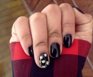 black nailpolish, fashion, and flowers image