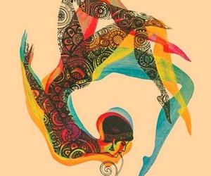 art, woman, and yoga image