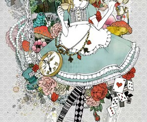 alice in wonderland, art, and combination image