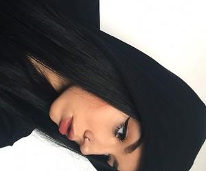 girl, black, and makeup image