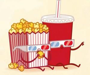 popcorn, couple, and food image