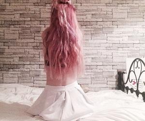 grunge, pink hair, and white image