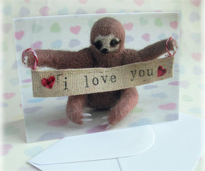 sloth, greetings card, and cute image