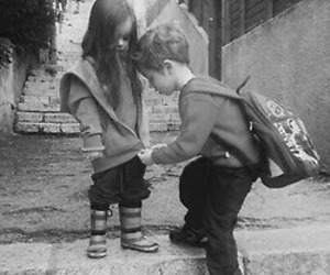 black and white, boy, and girl image