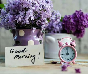 clock, flowers, and good morning image