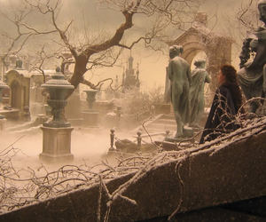 angels, cemetery, and mist image