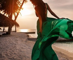 dress, green, and beach image