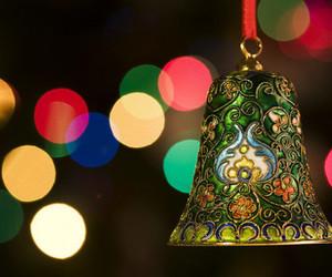 christmas, lights, and bell image