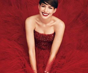 Anne Hathaway, red, and dress image