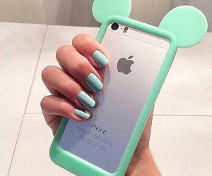 apple, turquoise, and iphone image