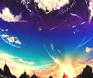 sky, anime, and art image
