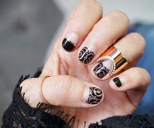 black, diamonds, and jewelry image