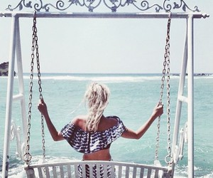 ocean, summer, and swing image