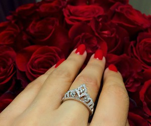 red, nails, and roses image