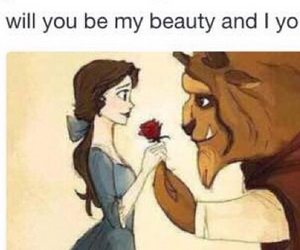 love, beast, and disney image