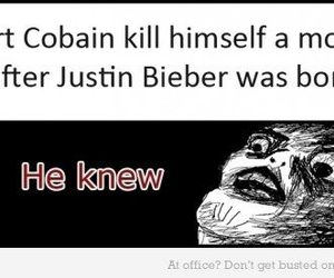 kurt cobain, justin bieber, and funny image