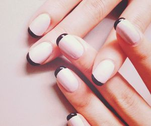 black and white, nails, and french manicure image