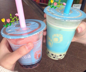 drink, bubble tea, and pastel image