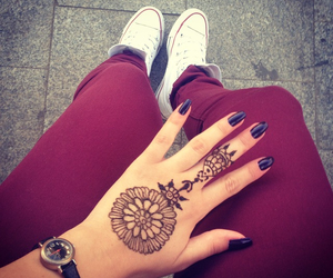 converse, henna, and indian image