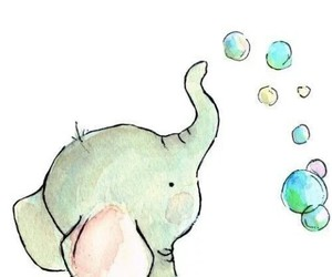 bubbles, cute, and elephant image