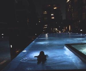 night, pool, and swim image