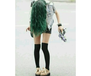 free, girl, and green hair image