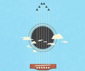 guitar, art, and sky image