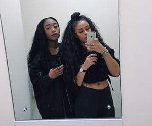 best friend, black, and curly hair image