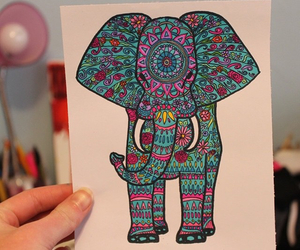 elephant, drawing, and colorful image