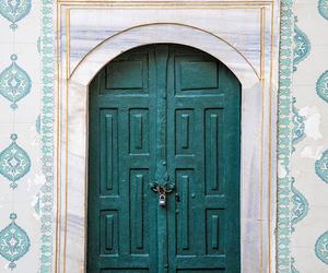 door, blue, and green image
