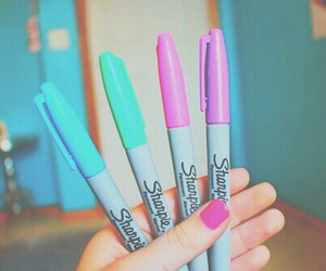 pastel, sharpies, and pen image