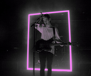 black and white, matty healy, and pink image